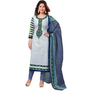 Meher White Printed Cotton Dress Material Design 2