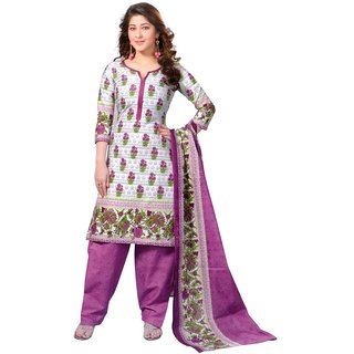 Meher White Printed Cotton Dress Material Design 3