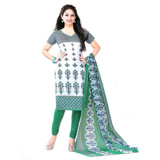 Meher White Printed Cotton Dress Material Design 5