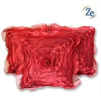 Sweet Home Pack Of 5 Designer Tissue Cushion Cover 16x16 Inch - Red