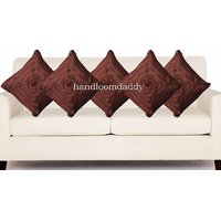Sweet Home Pack Of 5 Designer Tissue Cushion Cover 16x16 Inch - Brown