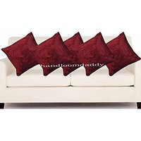 Sweet Home Pack Of 5 Designer Tissue Cushion Cover 16x16 Inch - Maroon