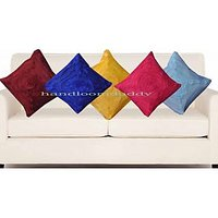 Sweet Home Pack Of 5 Designer Tissue Cushion Cover 16x16 Inch - Multi Color