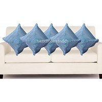 Sweet Home Pack Of 5 Designer Tissue Cushion Cover 16x16 Inch - Sky Blue