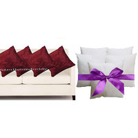Sweet Home Designer Tissue Cushion Cover With Cushion Filler (10pcs Set)- Maroon