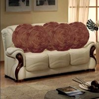 Sweet Home Pack Of 5 Round Design Tissue Cushion Cover - Brown