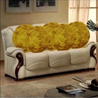 Sweet Home Pack Of 5 Round Design Tissue Cushion Cover - Yellow