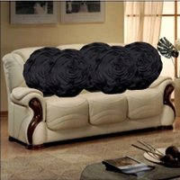 Sweet Home Pack Of 5 Round Design Tissue Cushion Cover - Black