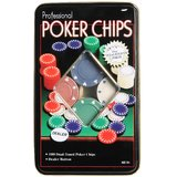 100 Pcs Professional Poker Chips Set Casino IN A TIN CASE Pocker Chips Gift Set