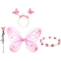 Mid Age Butterfly Wings, Magic Wand, Floral Tiara and Hairband Fairy Costume Set