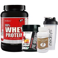 Medisys Power Booster Combo - Whey Protein - Chocolate - 1kg+Pre Workout Free Multivitamin  Shaker