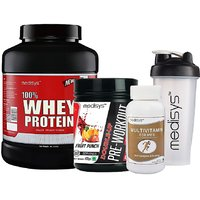 Medisys Power Booster Combo - Whey Protein - Chocolate - 2kg+Pre Workout Free Multivitamin  Shaker