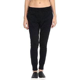 Grain Womens Cotton Solid Jogger Pants L593BLACK