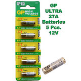 27A GP Battery 5 Pieces Pack. 12V Alkaline Battery. MN27 V27GA L828 A27 G27A FS.