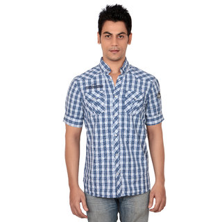 Blue N White Summer Casual Shirt (Medium)