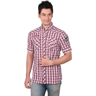 Red N White Summer Casual Shirt (Medium)
