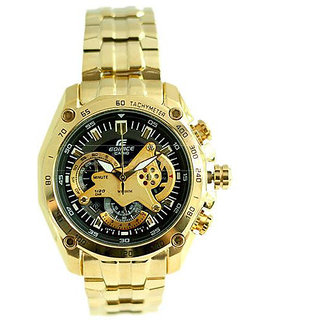 Casio Edifice EF-550D-Gold With Black Dial - 1 Year Warranty