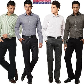 By Online Gwalior Menu0026#39;s Ready To Stitch Formal Wear Pack Of 8 (4 Shirts U0026 4 Pants) Assorted ...
