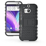 Flip Kick Stand Hard Dual Armor Hybrid Bumper Back Case Cover For Htc One M8 - Black