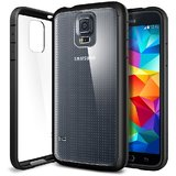 Spigen Samsung Galaxy S5 Case Bumper Ultra Hybrid Cover With Clear Back Panel Galaxy Sv / Galaxy S V - Black