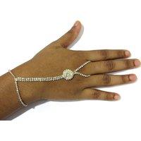 White Stone Belt Hand Panja Bracelet