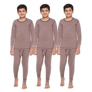 Vimal Premium Blended Brown Thermal TopBottom Set For Boys(Pack Of 3)