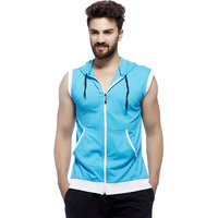 Demokrazy men's Turquoise sleeveless hoodie