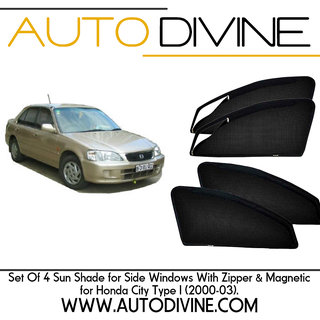 HONDA CITY OLD (TYPE 1), Car Accessories Side Window Zipper Magnetic Sun Shade, Set of 4 Curtains.