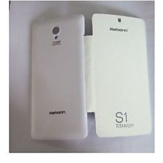Karbonn S1 Titanium Durable Leather Flip Cover (White) available at ShopClues for Rs.199