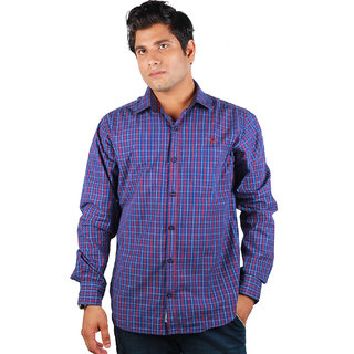 BarryLine London Men Navy & Red Line Checked Casual Shirt