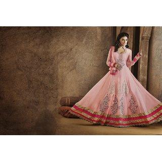 Light Pink Net Abaya Style Churidar Kameez