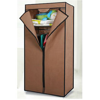 EI Stylish  Foldable Canvas Cupboard Cabinet Almirah Wardrobe Brown available at ShopClues for Rs.1499