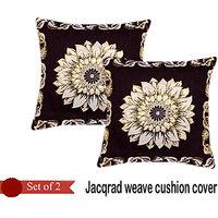 Handloomhub Sunflower Jacqrad Weave Cushion Cover(Set Of 2)-Brown
