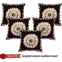 Handloomhub Sunflower Jacqrad Weave Cushion Cover(Set Of 5)-Brown