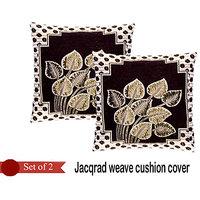 Handloomhub Leaves Jacqrad Weave Cushion Cover(Set Of 2)-Brown