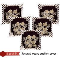 Handloomhub Leaves Jacqrad Weave Cushion Cover(Set Of 5)-Brown