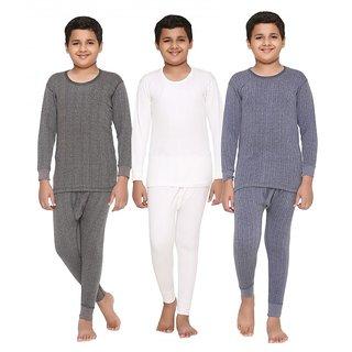Vimal Premium Blended Multicolor Thermal TopBottom Set For Boys(Pack Of 3)