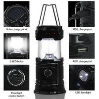 Rechargeable Emergency Lantern with USB Mobile Charger,Solar Lights with Torch