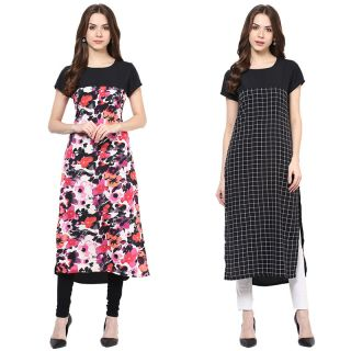 Colors Couture Black Printed Polyester Stitched Kurti