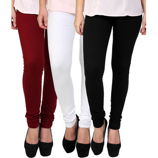 White Black and Maroon Cotton Lycra Leggings