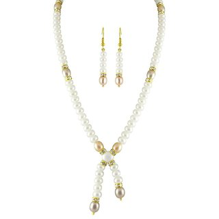 Imposing Cris Cross Pearls Pendant With Dangle Earrings Hyderabadi Necklace Set