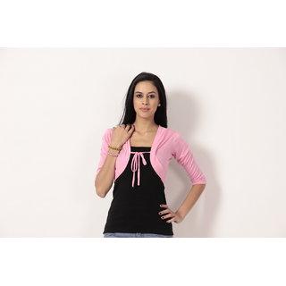 Teemoods Stylish Short Shrug Pink