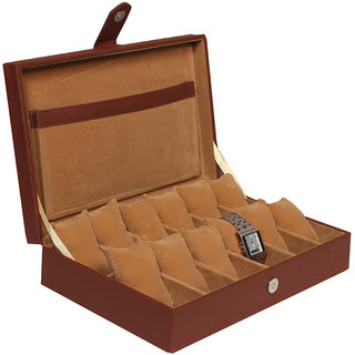 Leather World Brown High Quality PU Leather watch box for 12 Watches