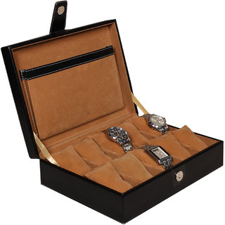 Leather World Black PU Leather Watch Box Case for 10 Watches