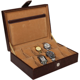 Leather World Brown High Quality PU Leather Watch Box Case for 10 Watches