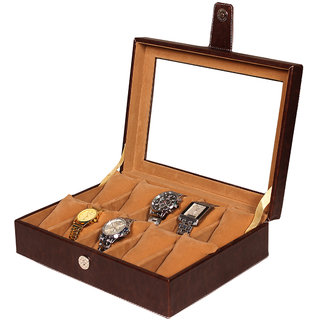 Leather World Brown PU Leather Watch Box Case for 10 Watches