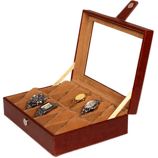 Leather World Maroon PU Leather Watch Box Case for 10 Watches