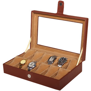 Leather World Brown PU Leather watch box cushion for 12 Watches