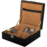 Leather World Black High Quality PU Leather Watch Box Case for 8 Watches