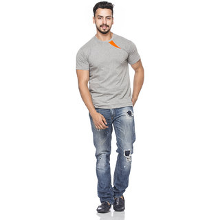 Demokrazy Mens Orange & Grey Round Neck T-Shirt
